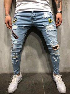 Pantalones Medio cintura estiramiento flaco Denim lápiz largo EuropeanAmerican hombres del estilo más el tamaño de los botones cómodas delgadas pantalones de los tejanos S-3XL