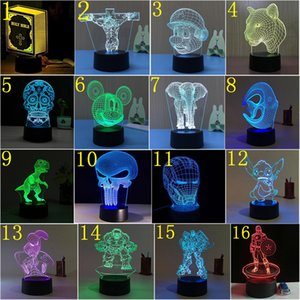 Couleur LED 3D Night Light USB 7 Interrupteur tactile 3d lampe illusion optique nouveauté acrylique Lampe de table 3D 176 Motif en option