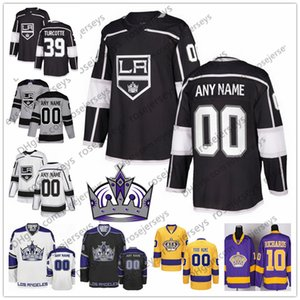 Benutzerdefinierte Los Angeles Kings grau dritte Jersey eine beliebige Anzahl Name Männer Frauen Jugend Kind weiß schwarz Krone # 39 Alex Turcotte Bjornfot Kopitar Doughty