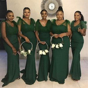 Dark Green Mermaid Bridesmaid Dresses Long V-Neck Zipper Back Country Style African Maid Of Honor Gowns Cheap Wedding Guest Dresses