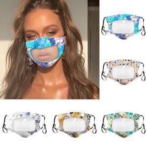 PET Lip Mask Anti-fog Transparent Face Mask flroal Print Cotton Masks Deaf Mute Designer Masks Soft Anti Dust Breathable Cover GGA3547-5