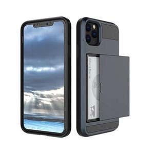 Pour iPhone 11 Pro Xs Max Xr Wallet Slide Case Armure Crédit Téléphone couverture de cas avec carte Machines à sous pour Samsung note10 S10