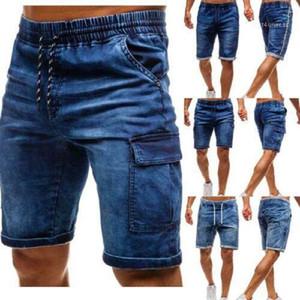 Mens clásicos rectos ocasionales delgados pantalones vaqueros cortos de verano pantalones cortos de mezclilla Vintage Pantalones masculinos Solid Jeans