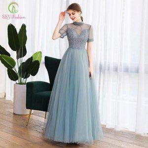 SSYFashion New Banquet Elegant Evening Dress High-neck Short Sleeve Sequins Beading A-line Prom Formal Gowns Vestido De Noche