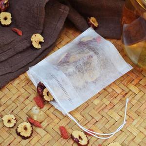 100pcs / lot bolsitas de té natural de maíz fibra PLA biodegrada té Filtros bolsa de café molido con cuerdas de la bolsita de té vacía