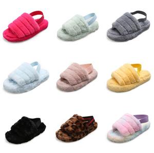 2020 envío libre del bebé la piel de imitación de pelo infantil de las muchachas suavemente único zapatas de deslizamiento de la felpa de la sandalia de los niños zapatos de los deslizadores # 527