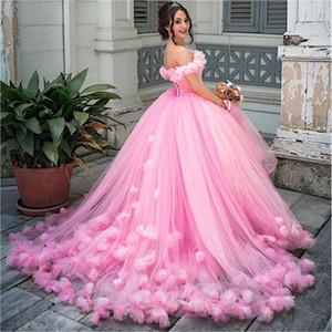 Princess hinchados de bola del vestido de quinceañera vestidos de tul Rosa 2019 de la mascarada del dulce 16 Backless Dress Prom Girls Vestidos de 15 anos