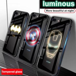 Caso de cristal Marvel Avengers luminoso templado para el iPhone X XS MAX XR 10 6S 7 8 Plus 7plus 8Plus 11 PRO Coque Batman cubierta del teléfono
