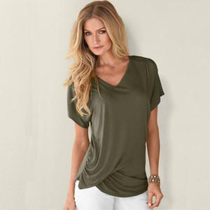 Nuovo casuale delle donne slaccia la camicia camicetta a maniche corte di base estate delle parti superiori della moda di New