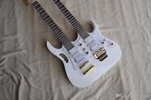 Custom wholesale high quality white double neck 6+12 string electric guitar, free shipping