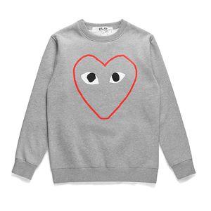 2019 가을 일본어 타이드 라인 레드 하트 스웨터 CDG 재생 긴 소매 라운드 넥 플리스 스웨터 남성 여성 눈 까마귀 최고 품질 인쇄