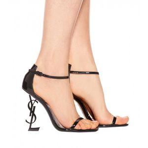 Nueva Chaussure Femme Talon Wrap-around Zapatos de vestir de oficina para mujer Cuchilla de tacón de aguja metálicas Slip On Plus Size High Heels size 34-42