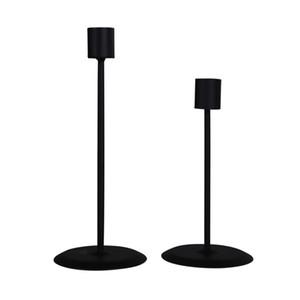 2 Piezas Negro Taper Candle Holder clásico candelabro de metal Conjunto de 2 moderna simple soporte de la vela romántica mesa en piezas centrales