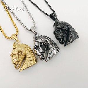 Caballero negro gótico de acero inoxidable Horse Skull collar colgante para hombre moda animal war horse skull collar BLKN0770