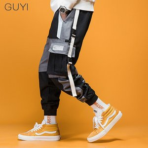 Guyi remiendo bolsillos de los pantalones de los hombres blancos Rib tobillo Pantalones tácticos masculino manera ocasional de Hip Hop Off de Calle Pantalones