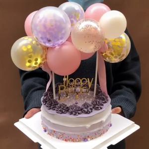 1Set 10pc 5 polegadas Set festa de aniversário do casamento Topper Balão Bolo Decoração Latex Confetti Balão Bolo Decor Baby Shower Supplies