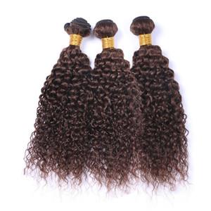 # 4 Шоколадно-коричневые индийские пучки человеческих волос Kinky Curly Weave Wefts Темно-коричневые вьющиеся человеческие волосы Pure 4 цвета смешанной длины