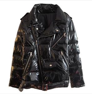 다운 파카 2019 New Warm 특허 가죽 광택 파카 Women Black Zipper Jacket women 윈드 코트 2019 Winter Glossy Down Parka Wome