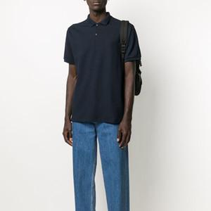 20FW clássico do logotipo bordado Polo manga curta Casual Verão Mens Polo T-shirt de alta qualidade Tooling Sólidos simples Summer Street