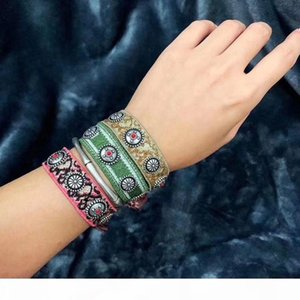 Vintage Classic Designer Colorful Knit Cotton Fabric With White Round Nail Bracelet For Women Jewelry