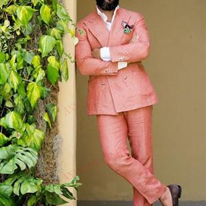 2020 Suit Erkekler Keten Yaz Plaj Damat Düğün Suits Casual Man Blazer Custom Made Smokin Ceket Pantolon Seti Mercan Kırmızı Erkek Takımları