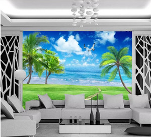 Moderna simple paisaje de la playa de Palm Beach fotografía de fondo Sala de cabecera Telón de fondo de pared Papel de parede 3D Paisagem