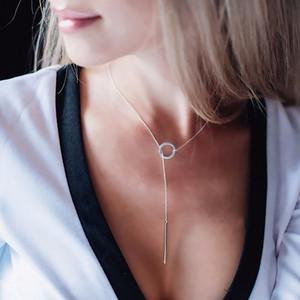 Kadınlar LY191203 e-Manco 925 Gümüş Uzun kolye Hattı Yuvarlak Kolye Basit ve Romantik Stil Güzel Takı Yılbaşı Hediye
