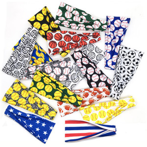 Softball Sports Bandanas Women Men Baseball Printed Hair Ribbon Stripling Girls Stripling Game Absorb Sweat Hair Ribbons Accessories E3405