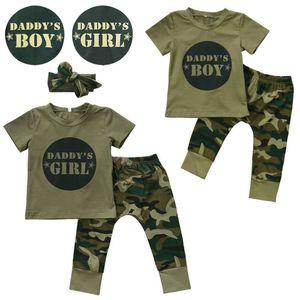 2017 Yeni Kamuflaj Bebek Giysileri babasının Erkek Kız Kısa Kollu T-shirt Tops + Pantolon Kıyafet Yürüyor Çocuk Giyim Seti 0-24 M Y18120303