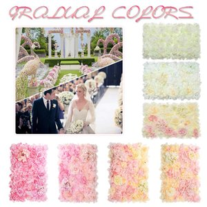 Decoração da flor 40x60cm DIY Rose Carpet flor artificial Plantas parede Painéis Wedding Party Pillar principal Decor Floral Estrada