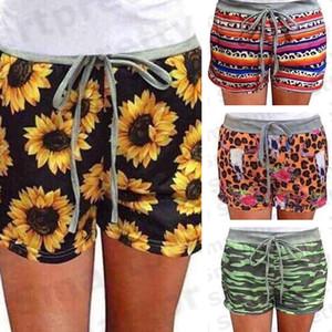 Calças Mulheres Drawstring elástica Shorts Loafers Homewear aptidão girassol Camouflage Serape Imprimir Shorts Meninas Summer Beach Pants 2020 E31203