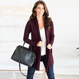 Повседневный свитер женщин Pure с длинным рукавом кардиган пальто 2019 осень мода Вязаная Перемычка Кардиган Плюс размер Верхняя одежда Женская Верхняя одежда