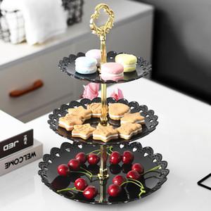 Três camadas de bolo prato de frutas stand Acessórios de cozinha Partido Home Sobremesa armazenamento Rack Festival suprimentos suporte Cupcake Fruit lanche Placa