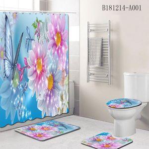 Çiçek Kelebek duş perdesi + Banyo Paspas Seti kaymaz Zemin Kilim Koltuk Örtüsü Tuvalet Banyo Paspas Halı Seti ücretsiz kargo