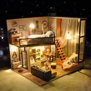 "DIY نموذج بناء لعبة، دليل حديث لوفت نمط خشبي بنة مع أضواء، الموسيقى، لحزب كيد ""هدية عيد ميلاد، جمع والديكور"