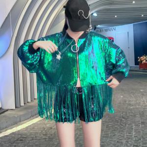 Art und Weise plus Gold Jacken Pailletten Größe Frauen große Größe lose Quasten Silber Jacke Mäntel Chic Frau bling bling Jacke autun