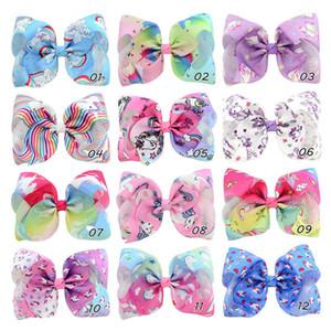 여자 유니콘 헤어 클립 12 개 색상 8 개 인치 빅 리본 헤어핀 레인보우 만화 인쇄 헤어핀 어린이 아기 모자 유아 머리띠 060602
