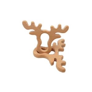 4 pezzi di legno di faggio Antlers Massaggiagengive a forma di animale Baby Teethers neonati Dentizione Giocattoli per neonati Accessori per bambini Collana Making