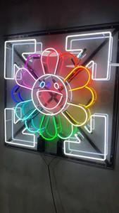 NEON SIGN24 * 24 pouces Murakami Sun Flower Tube Neon Light Sign Accueil Beer Bar Pub loisirs Salle de jeux lumières en verre de Windows Panneaux muraux
