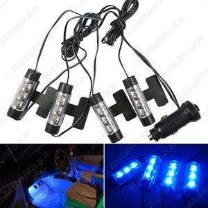 Синий 4x 3LED автомобиля Внутреннее освещение Charge 4в1 12V Glow Декоративные лампы Атмосфера Courtesy Light # 3180