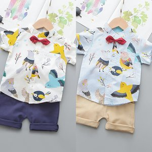 Abbigliamento per bambini Sets ragazzi del bambino bambino ragazza dei capretti simpatico cartone animato stampa Tops + modo cotone Shorts Outfit set Casual