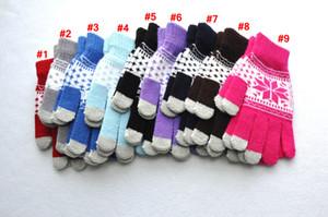 Gants capacitifs Knitting écran tactile Femmes d'hiver Gants en laine chaude antidérapage Tricoté Telefingers Noël flocon de neige Gant LJJA3511-6