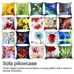 45x45cm Euro Decor Decorazioni per la casa Cuscino Cuscino di tiro con fiore di rosa per divano Federa in stile mediterraneo per la festa della mamma
