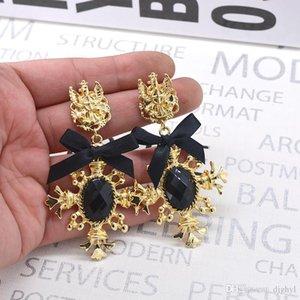 2019 New Sweet Style Bowknot Vintage Heart Earrings Women's Jewelry Crystal Earring Fashion Jewelry Brincos Bowknot Bijoux