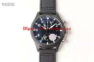 YL usine TOP GUN 389001 Mens Watch Cal.89361 automatique 12H Chronographe 28800 SPV de boîtier en céramique noire cristal de saphir 44mm Montres-bracelets