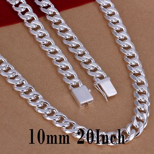 925 Silver Chain Necklace Jewelry Fashion 10MM 20inch Men's Curb Chain Necklace Jewelry Charm Mens Necklace