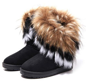 Fashion Fox Fur Warm Autumn Winter Wedges Women snow Boots Shoes GenuineI Mitation Lady Short Boot Casual Long Shoe's size 36-40