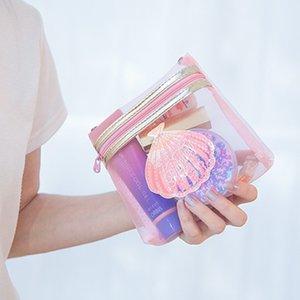 Bentoy las mujeres transparentes de maquillaje bolso cosmético divertida de la muchacha malla sólida viaje Wash Caso Mujeres bolsa Organizador Neceser