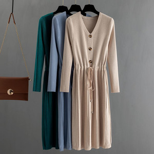 GIGOGOU Knit Pull Femme Maxi hiver chaud Chic robe à manches longues plissées Draswtring Une ligne col en V Midi Robes MX200518