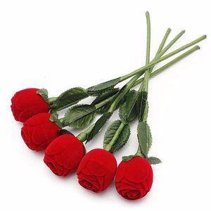 Rote Rose Blume Ring Box Hochzeit Ohrring Anhänger Schmuck Geschenk Fall Halter Display Pack Boxen Valentinstag Geschenk